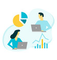 businessman and business woman analyze data with vector image vector image