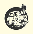 car with moustache icon vector image