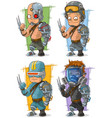cartoon cool cyborg soldier character set vector image vector image