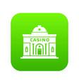 casino building icon green vector image