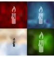 christmas candle icon on blurred background vector image