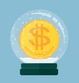 christmas card snow globe with a dollar gold coin vector image