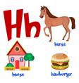 cute kids cartoon alphabet letter h