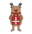 cute reindeer with gift christmas character vector image