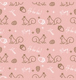 cute xmas pattern with squirrels and acorns line vector image vector image