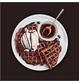 delicious chocolate waffles vector image
