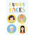 faces of girls vector image