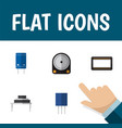 flat icon device set of mainframe transistor hdd vector image vector image