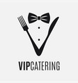 fork and knife logo catering concept on white vector image