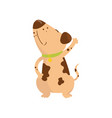funny little dog with brown spots on body cartoon vector image