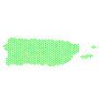 green hexagon puerto rico map vector image vector image