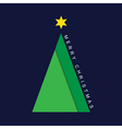 greeting card Christmas green tree with star vector image vector image