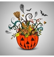Halloween pumpkin and colorful items vector image vector image