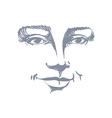 Hand-drawn portrait of white-skin flirting woman vector image vector image