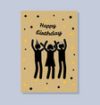 happy birthday postcard color vector image vector image