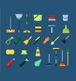 home cleaning tools set equipment for washing vector image