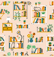 home library aesthetic pattern vector image vector image