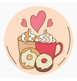 I love coffee and donuts vector image vector image