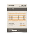 invoice template bill form with data table and vector image vector image