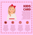 kids card infographic with cute girl vector image vector image