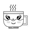 line kawaii cute happy coffee cup vector image