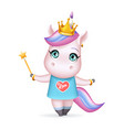 magic cute little princess fairy unicorn girl vector image