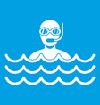 man with scuba icon white vector image vector image
