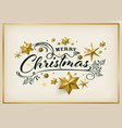 merry christmas greeting card with golden star vector image vector image