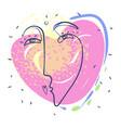 one line woman sending kiss portrait design hand vector image vector image