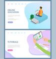 online education person tutorials web vector image vector image