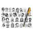 people with masks hand drawn doodle set vector image