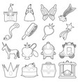 princess accessories icons set outline style vector image