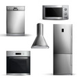 realistic kitchen appliances set vector image vector image