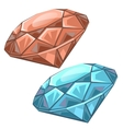 Red and blue precious faceted gems chips vector image vector image