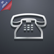 retro telephone handset icon symbol 3D style vector image