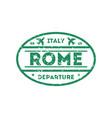 rome city visa stamp on passport vector image vector image