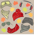 set hipster autumn hats vector image vector image