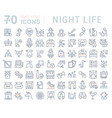 set line icons night life vector image