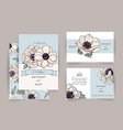 set wedding invitation card suite with anemone vector image