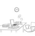sketch modern office space interior vector image vector image
