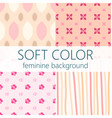 soft color feminine abstract seamless pattern set vector image vector image