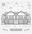 thin line icon suburban american house for vector image vector image