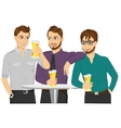 Three caucasian friends drinking a beer vector image vector image