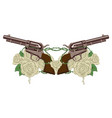 two big old revolvers white roses and barbed wire vector image vector image