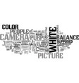 white balance and color cast text word cloud vector image vector image