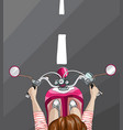 woman on bike top view vector image