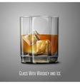 Realistic glass with smokey Scotch Whiskey and ice vector image