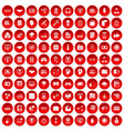 100 web development icons set red vector image vector image