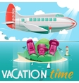 Airplane flying over island vector image vector image