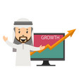 arab with growth on white background vector image vector image